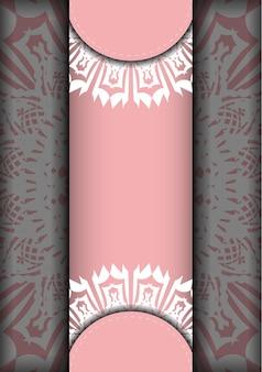 Ulotka w kolorze różowym z indyjskim białym wzorem jest gotowa do druku.