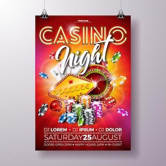 Ulotka wektor casino noc