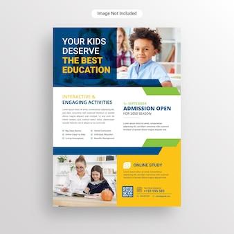 Ulotka wstępna do szkoły dla dzieci lub szablon projektu plakatu!