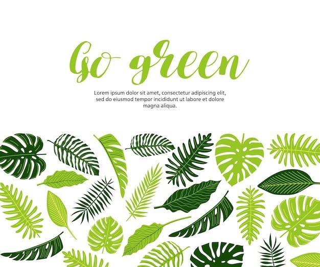 Ulotka z banerem internetowym z tropikalnymi liśćmi monstery paproci palma banana przejdź na zielono