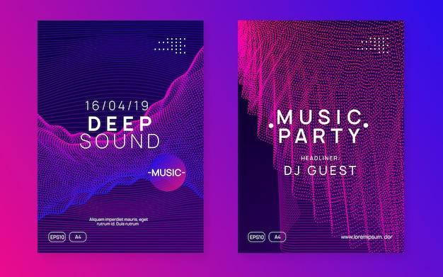 Ulotka z dźwiękiem neonowym. muzyka electro dance. elektroniczna impreza fest. cl