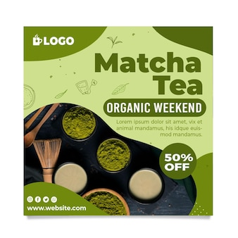 Ulotka z herbatą matcha w kwadracie ze zniżką
