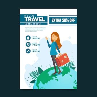 Ulotka z ilustrowaną sprzedażą podróży