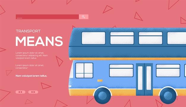 Ulotka z koncepcją autobusu w anglii, baner internetowy, nagłówek interfejsu użytkownika, wejście do witryny. .