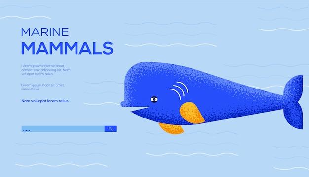 Ulotka z koncepcją białego wieloryba, baner internetowy, nagłówek interfejsu użytkownika, wejście do witryny. .