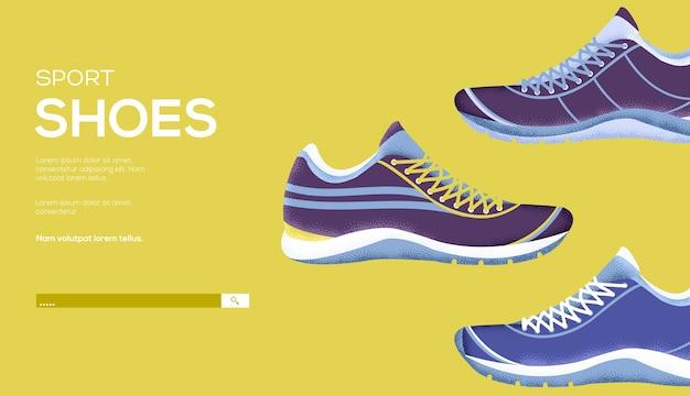 Ulotka z koncepcją butów sportowych, baner internetowy, nagłówek interfejsu użytkownika, wejście na stronę. .