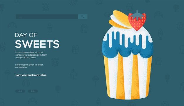 Ulotka z koncepcją ciasta wielkanocnego, baner internetowy, nagłówek interfejsu użytkownika, wejście na stronę. tekstura ziarna i efekt szumu.