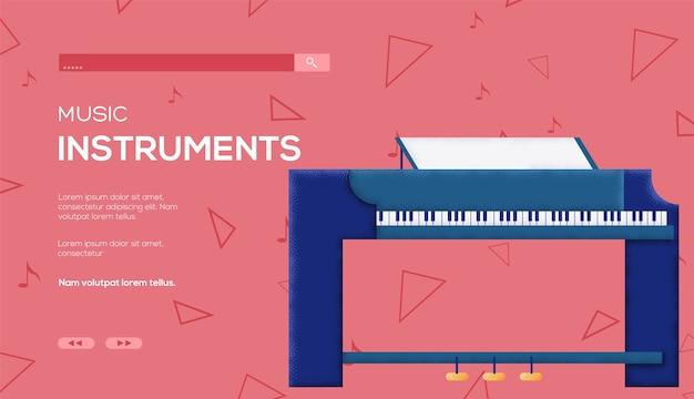Ulotka z koncepcją fortepianu, baner internetowy, nagłówek interfejsu użytkownika, wejście do witryny. .