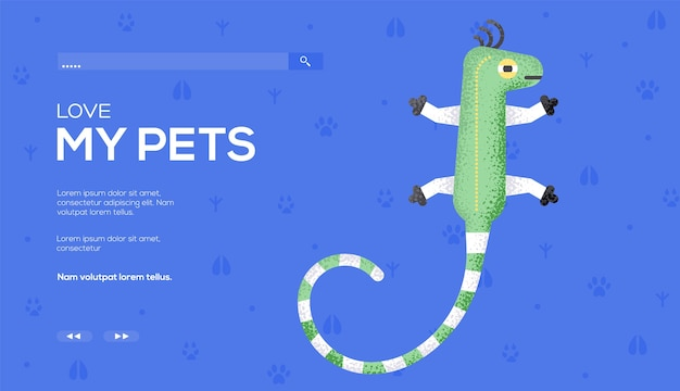 Ulotka z koncepcją jaszczurki, baner internetowy, nagłówek interfejsu użytkownika, wejście do witryny. .