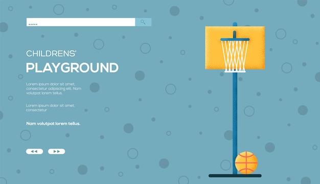 Ulotka z koncepcją koszykówki, baner internetowy, nagłówek interfejsu użytkownika, wprowadź witrynę. .