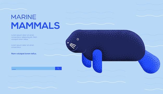 Ulotka z koncepcją krowy morskiej, baner internetowy, nagłówek interfejsu użytkownika, wejście do witryny. .