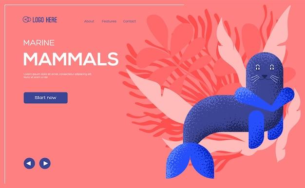Ulotka z koncepcją lwa morskiego, baner internetowy, nagłówek interfejsu użytkownika, wejście na stronę. .