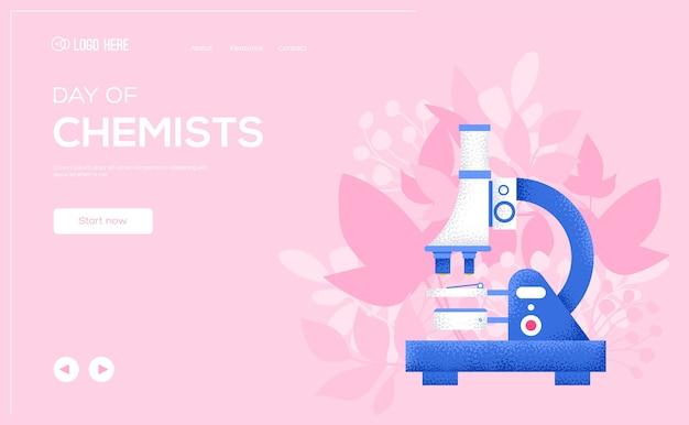 Ulotka z koncepcją mikroskopu, baner internetowy, nagłówek interfejsu użytkownika, wejście na stronę. efekt tekstury i szumu.