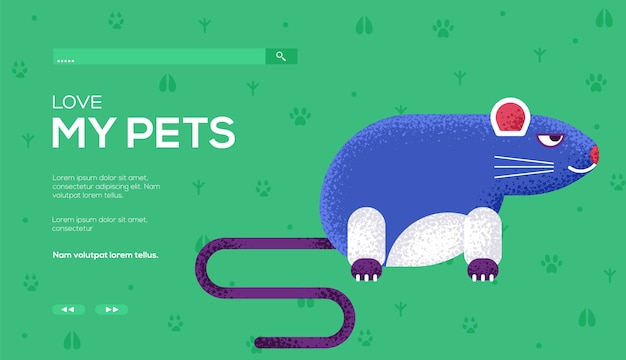 Ulotka z koncepcją myszy, baner internetowy, nagłówek interfejsu użytkownika, wejście do witryny. .