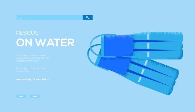 Ulotka z koncepcją narzędzi nurkowych, baner internetowy, nagłówek interfejsu użytkownika, wejście do witryny. .