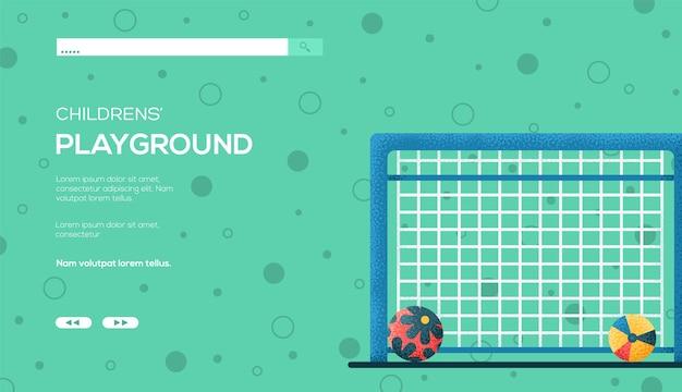 Ulotka z koncepcją piłki nożnej, baner internetowy, nagłówek interfejsu użytkownika, wejście na stronę. .