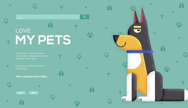 Ulotka z koncepcją psa, baner internetowy, nagłówek interfejsu użytkownika, wejście na stronę. .