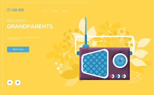 Ulotka z koncepcją radia, baner internetowy, nagłówek interfejsu użytkownika, wejście na stronę. tekstura ziarna i efekt szumu.