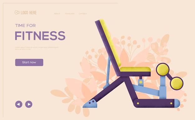 Ulotka z koncepcją siłowni sportowej fitness, baner internetowy, nagłówek interfejsu użytkownika, wejście do witryny. tekstura ziarna i efekt szumu.