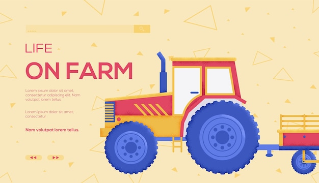 Ulotka z koncepcją traktora, baner internetowy, nagłówek interfejsu użytkownika, wejście na stronę tekstura ziarna i efekt hałasu.