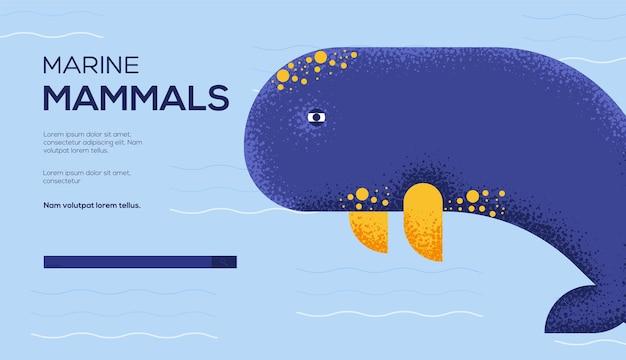 Ulotka z koncepcją wieloryba, baner internetowy, nagłówek interfejsu użytkownika, wejście na stronę. .