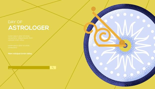 Ulotka z koncepcją zegara słonecznego, baner internetowy, nagłówek interfejsu użytkownika, wejście do witryny. tekstura ziarna i efekt szumu.
