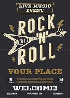 Ulotka z muzyką rockową, szablon tła plakatu na żywo z gitarą. tło rock n roll.