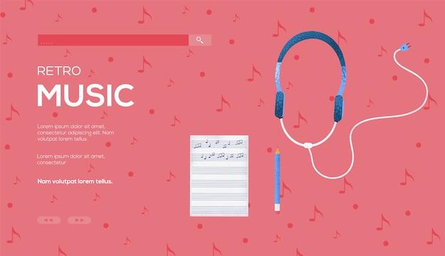 Ulotka z notatkami i koncepcją słuchawek, baner internetowy, nagłówek interfejsu użytkownika, wejście na stronę .