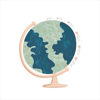 Ulotka z okazji dnia ziemi ziemia ilustracja płaska symbol podróży wakacje ekologia
