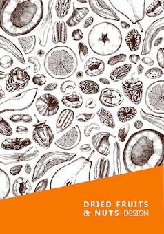 Ulotka z suszonymi owocami i orzechami. ręcznie rysowane szkice suszonych owoców. ilustracje vintage orzechów. na wegańskie jedzenie, przekąski, zdrowe śniadanie, muesli, wypieki, desery. szablon grawerowanej karty
