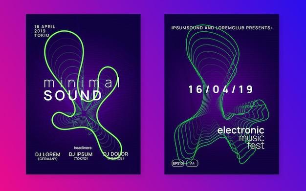 Ulotka z wydarzeniem w stylu electro z kształtem i linią w płynie ynamic.