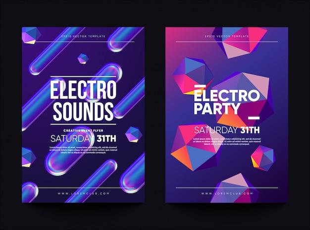"""Ulotka z zaproszeniem do klubu """"electro dźwięki"""". projekt tańca z holograficznymi kształtami."""