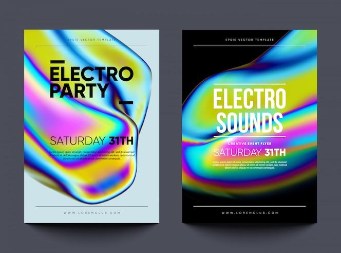 """Ulotka z zaproszeniem do klubu """"electro dźwięki"""". projekt tańca z płynnymi błyszczącymi kształtami"""