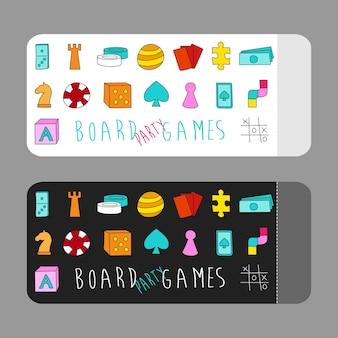 Ulotka z zaproszeniem na imprezowe gry planszowe z elementami gry w kolorowym stylu kreskówek