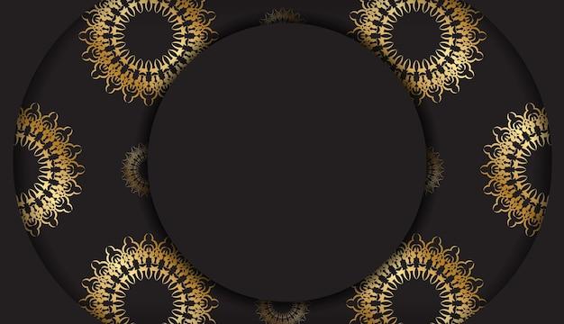 Ulotka z życzeniami w kolorze czarnym ze złotym indyjskim ornamentem