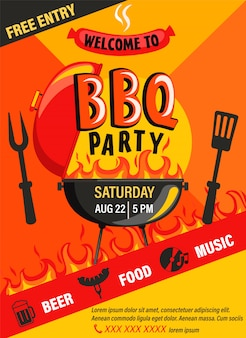 Ulotka zaproszenie na przyjęcie z grilla. letnie wydarzenie weekendowe przy grillu, piwo, jedzenie, muzyka