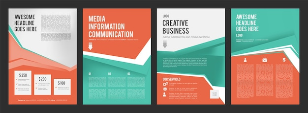 Ulotki biznesowe. kolorowe strony broszury reklamowej z miejscem na zbiór projektów tekstu. szablon banerów prezentacji
