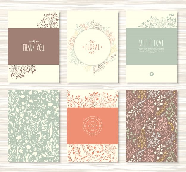 Ulotki, broszury z kwiatami, liście