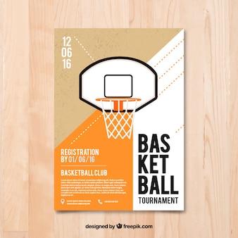 Ulotki koszykówki w płaskiej konstrukcji