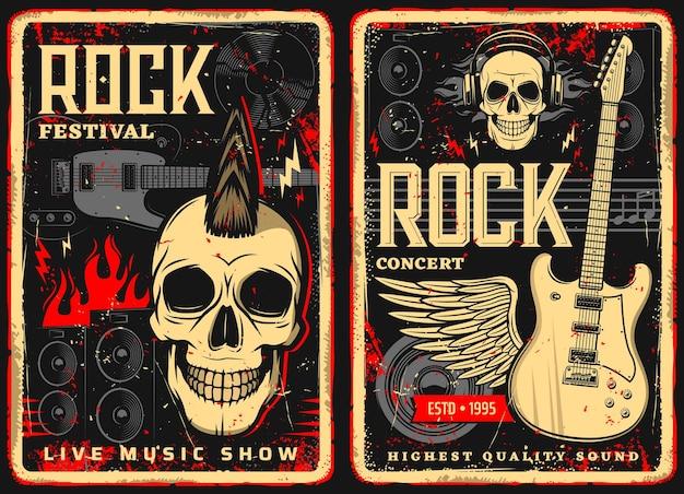 Ulotki lub plakaty w stylu retro z hard rockiem