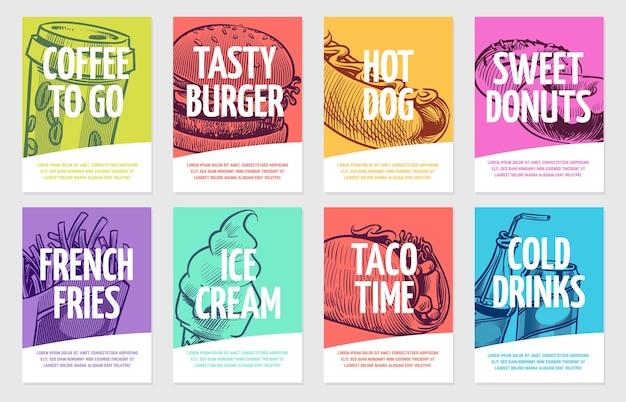 Ulotki o fast foodach. kawa, burger i hot dog, ciasta i frytki, lody i cola, kanapka. restauracja plakaty szablon karty i zestaw do rysowania banerów na lunch