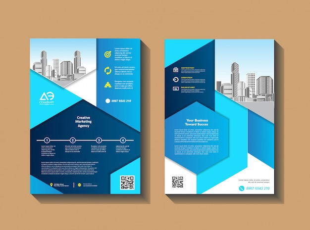 Ulotki szablon projektu profil firmy magazyn plakat roczny raport