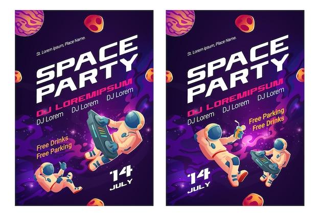 Ulotki z kreskówkami z imprezy kosmicznej, zaproszenie na pokaz muzyczny z dj-astronautą z gramofonem na otwartej przestrzeni
