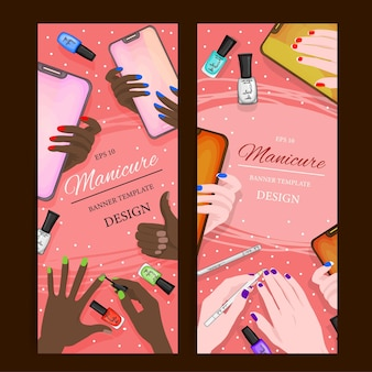 Ulotki z manicure flatlay i kosmetykami, szablon tekstu. styl kreskówki. ilustracja wektorowa.