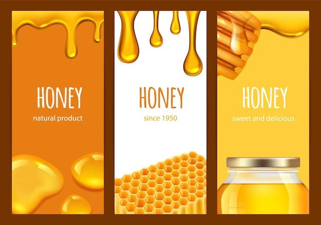 Ulotki z miodem. słodki realistyczny miód, plaster miodu, plamy złota. szablon banery wektor gospodarstwa świeżej żywności. ilustracja złoty miód słodki, pyszne jedzenie karta
