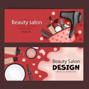 Ulotki z produktami kosmetycznymi, szablon tekstu. styl kreskówki. ilustracja wektorowa.