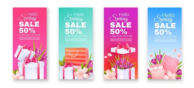 Ulotki z wiosenną wyprzedażą. krokusy i kwiaty jabłka z torbami na prezenty