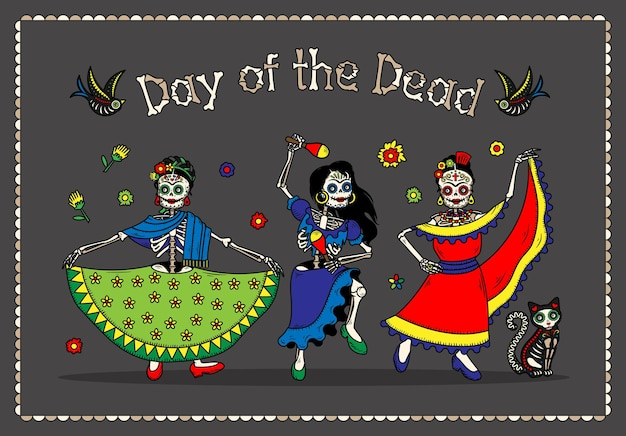 Ulotki z zaproszeniem na imprezę kostiumową dia de los muertos z okazji dnia zmarłych