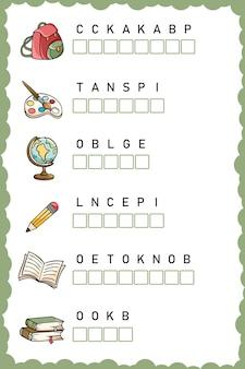 Ułóż litery we właściwej kolejności arkusz roboczy dla edukacji edukacyjna gra logiczna