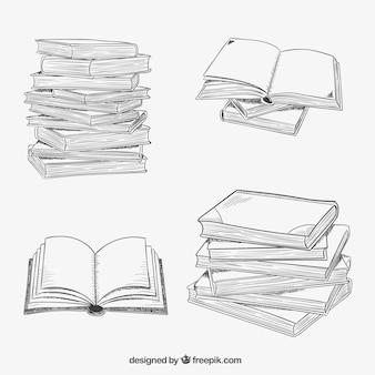 Ułożone książki w stylu rysowane ręcznie